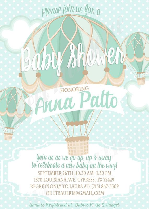 Hot Air Balloon Baby Shower Invitation By Sweetprovidence