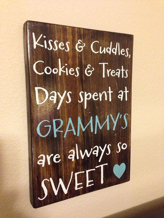 Personalized Wood Sign Grandparent Mother Grandma Kisses