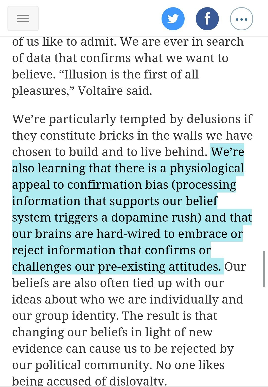 There Is A Physiological Appeal To Confirmation Bias