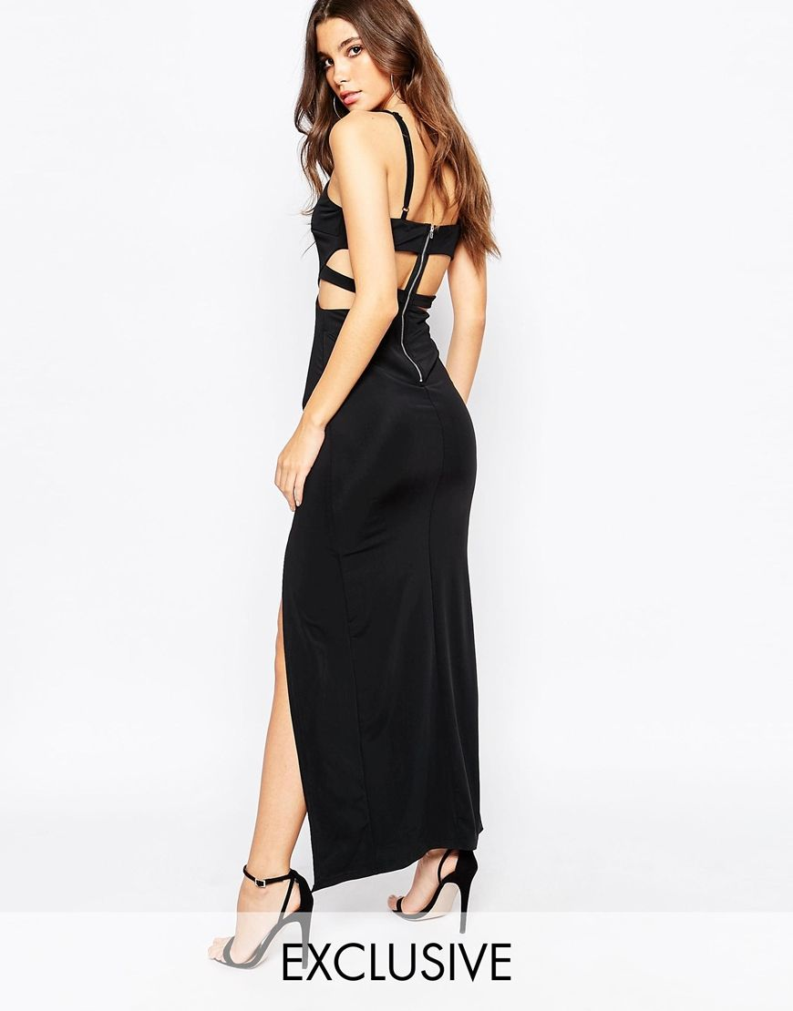 Naanaa plunge cut out maxi dress with thigh split valedictory