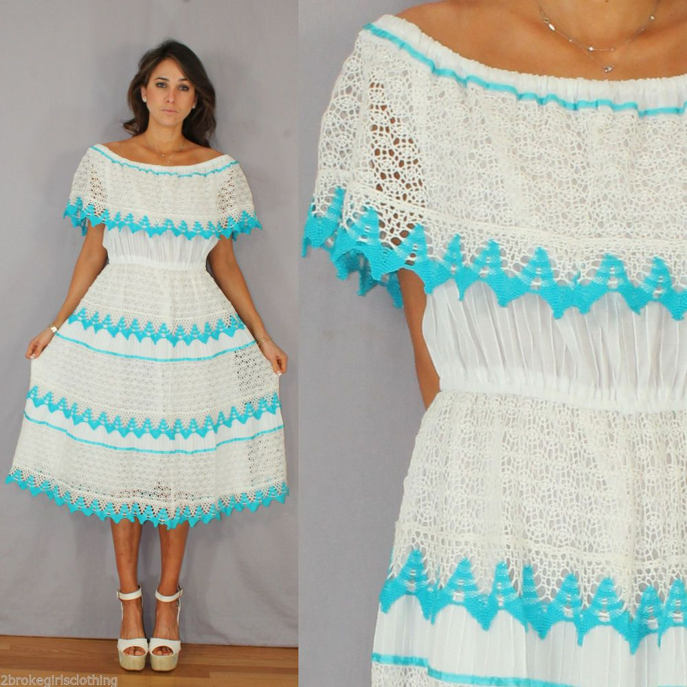 vtg 80s Boho White CROCHET Mexican off shoulder wedding Dress O/S ...