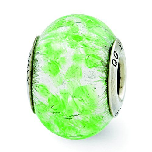 Sterling Silver GreenWhite Italian Murano Glass Bead Charm For Pandora Chamilia  European Bracelets >>> You can find out more details at the link of the image.