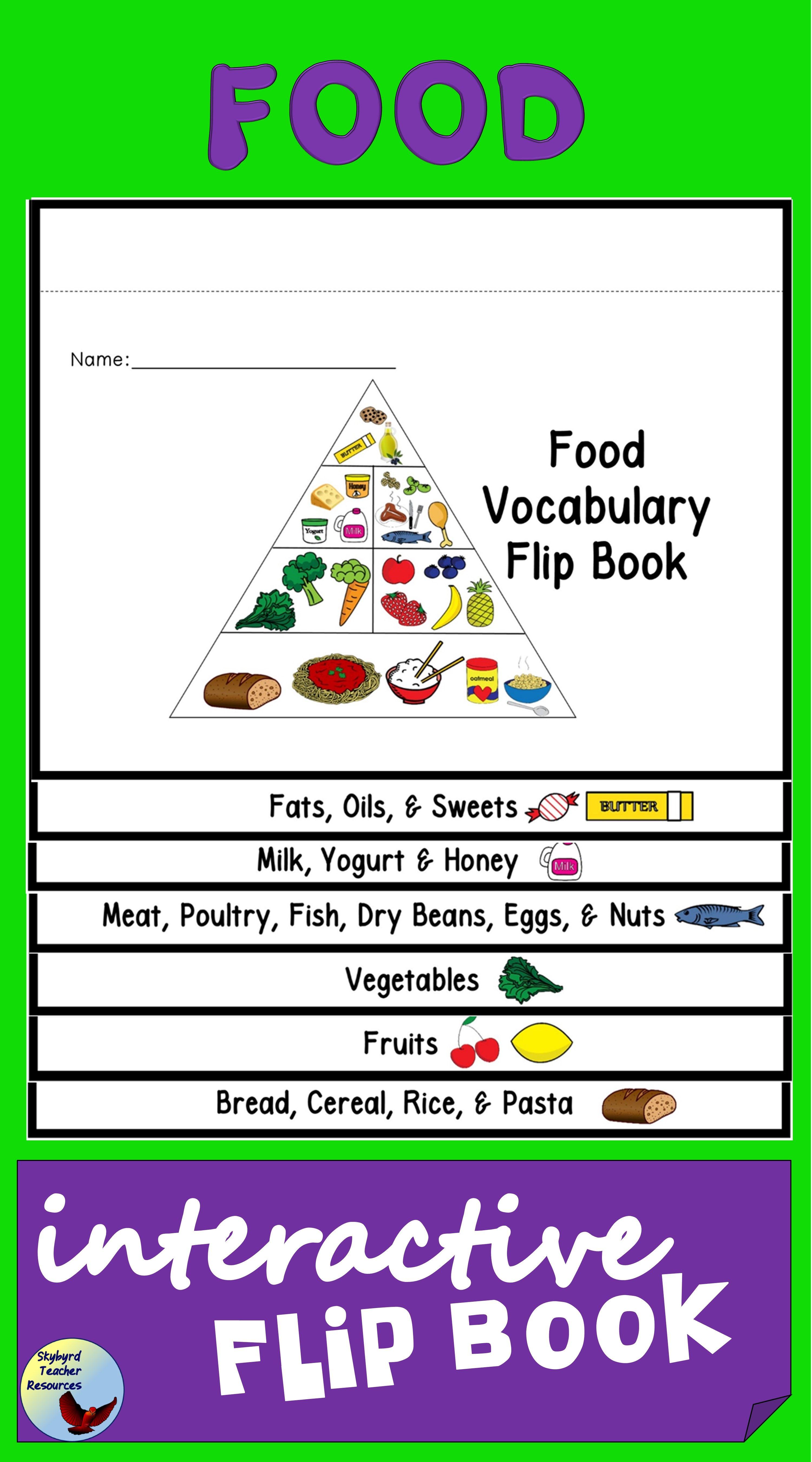 interactive food vocabulary flip book esl efl ell sped creative
