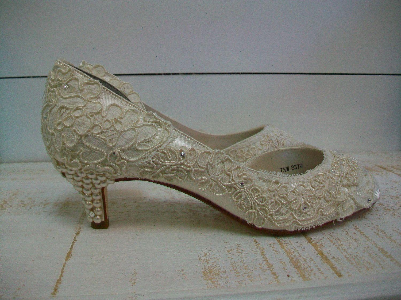 Lace Wedding Shoes Vintage Antique Lace Pearls Kitten