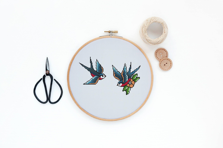 PDF DOWNLOAD Swallow Tattoo Cross Stitch Pattern