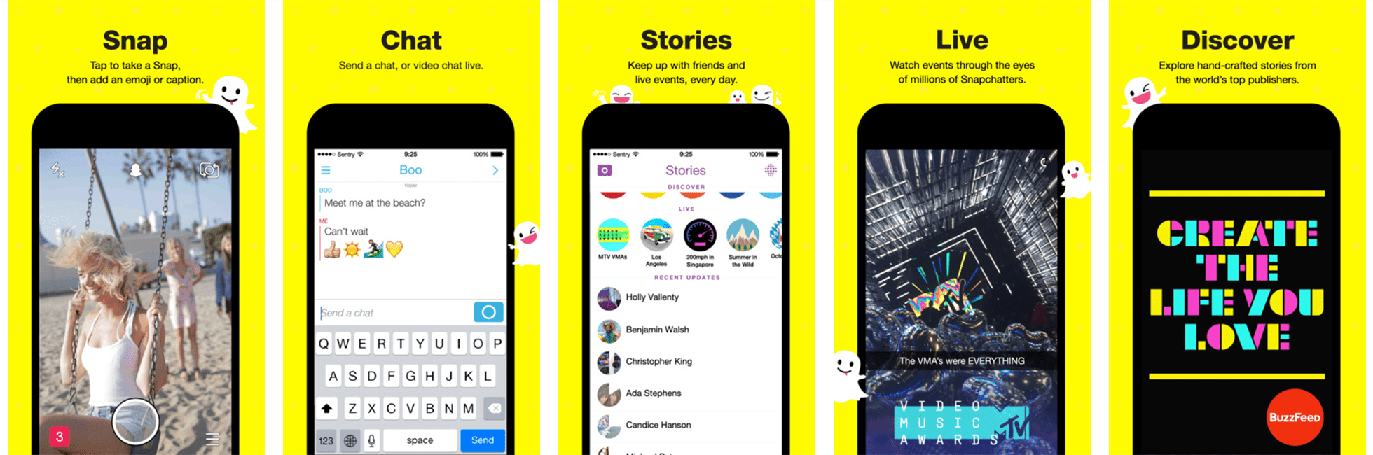 App Screenshot Example Snapchat App, Stationary branding