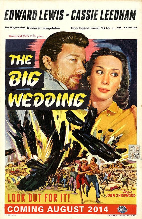 Customized Retro 1940s 1950s Movie Poster Save The Date Wedding