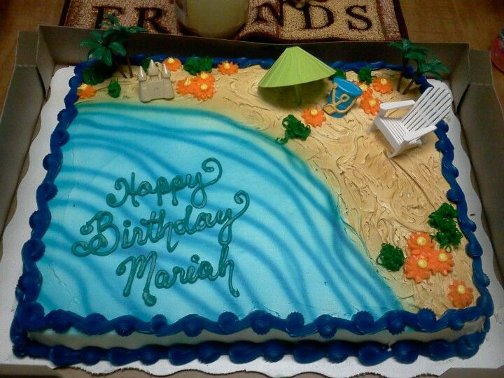 Great Cake For Summer Bdays Beach Or Luau ThemeAvailable Walmart Bakery