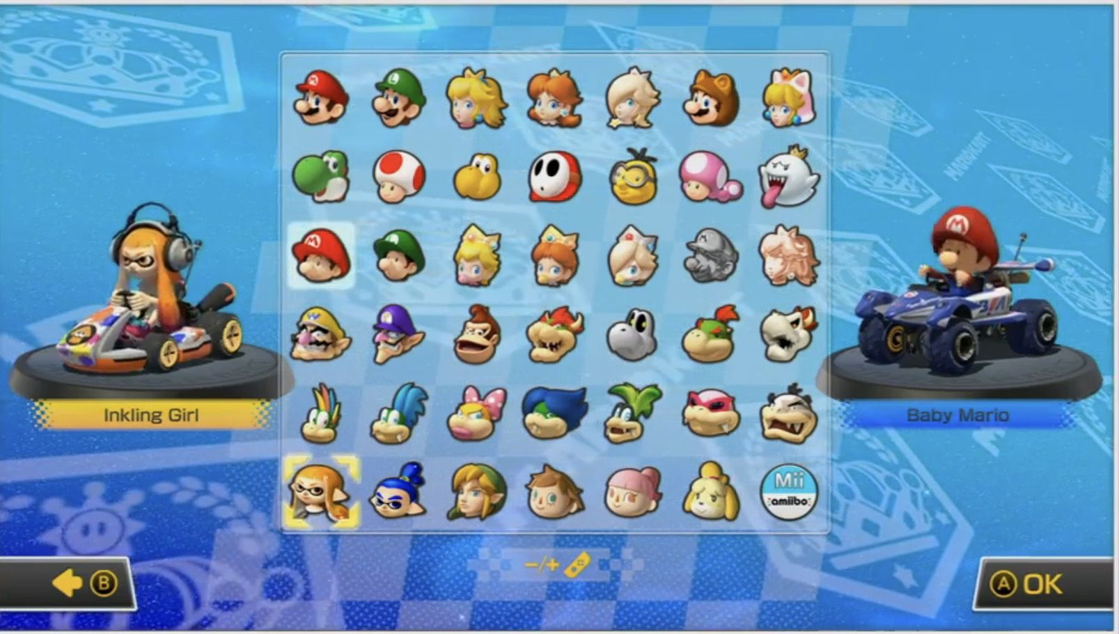 Mario Kart 8 Deluxe Character Selection Screen Mario