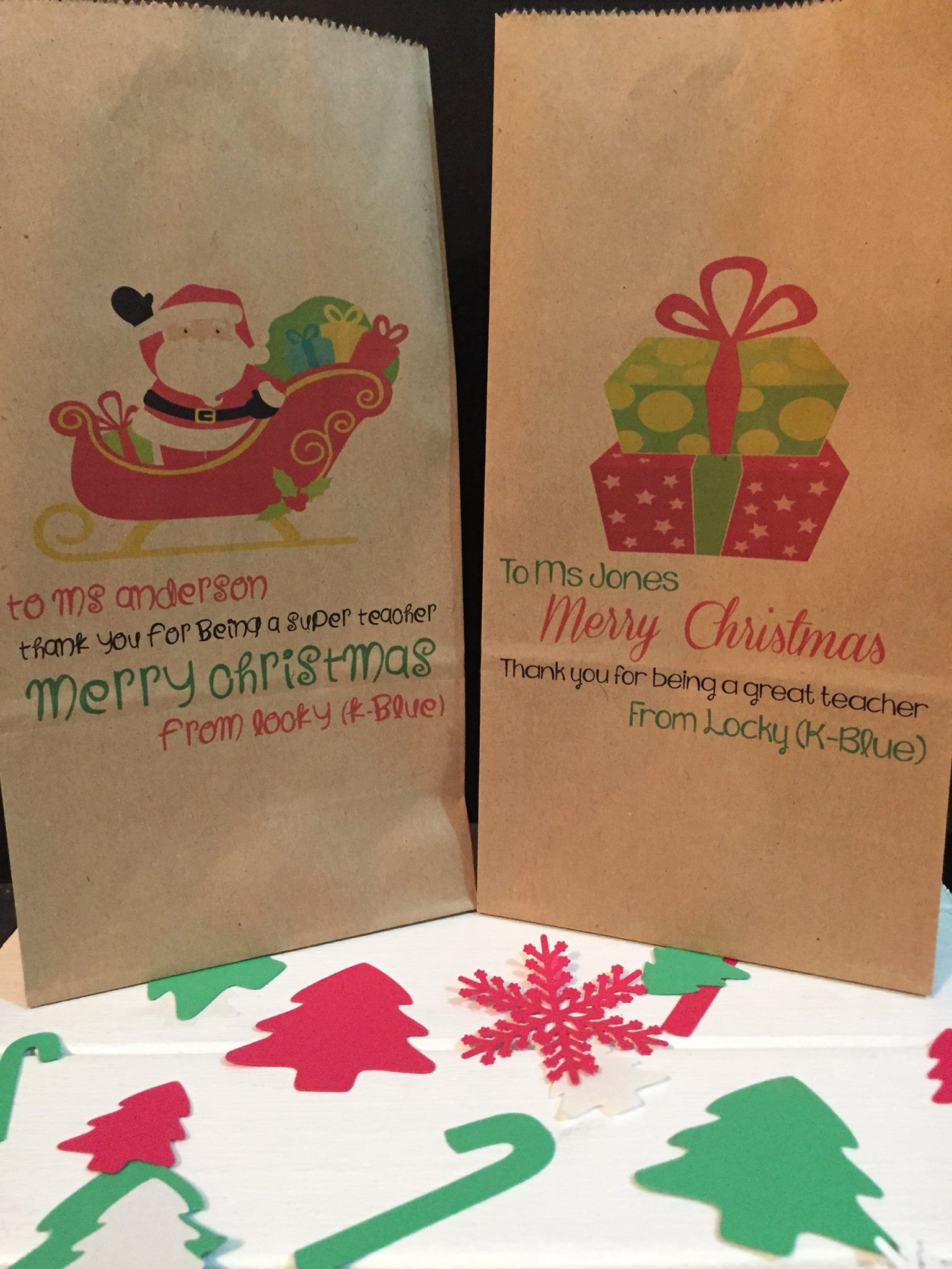 Personalised Christmas Gift Teacher Ideas Lolly Bags Packaging