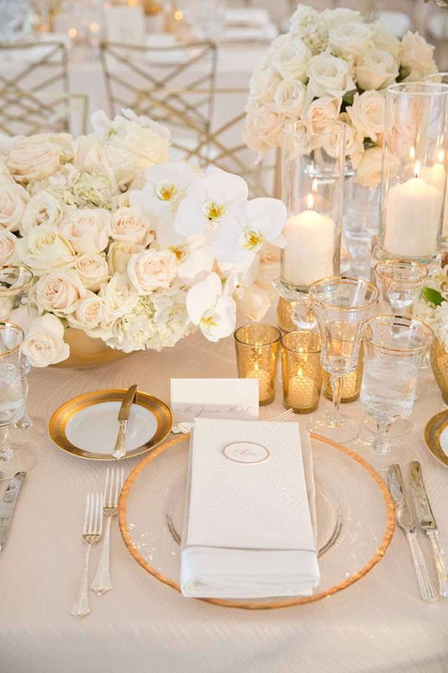 Gold Votives And Rimmed Charger Plates