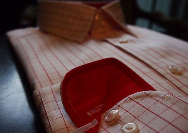 Eterna red checked shirt $165 from Gotstyle Menswear.