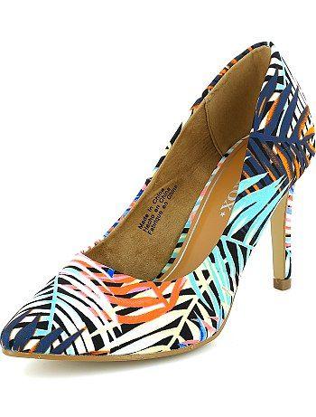 f00f2097 Zapatos de tacón acabados en punta con estampado tropical Kiabi 23€ coral  Mujer