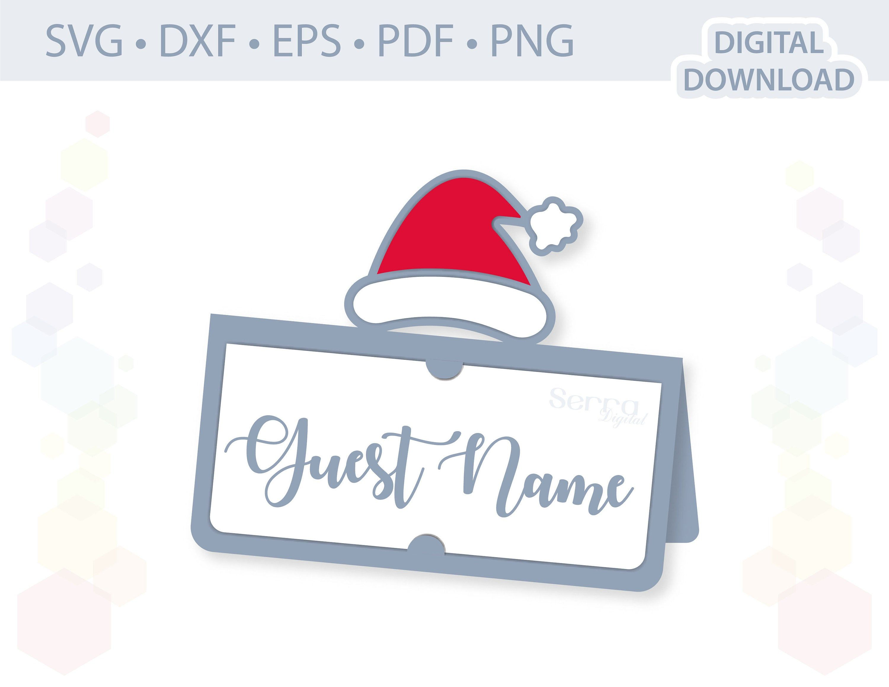 Santa Hat Place Card Template Svg Dxf Eps Pdf Png Etsy Gift Tag Template Place Card Template Bottle Gift Tags