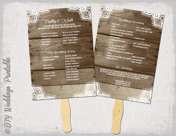 Printable Wood Lace Fan Wedding Program Template For You To Make Your Own DIY Programs Perfect A Rustic Or Country