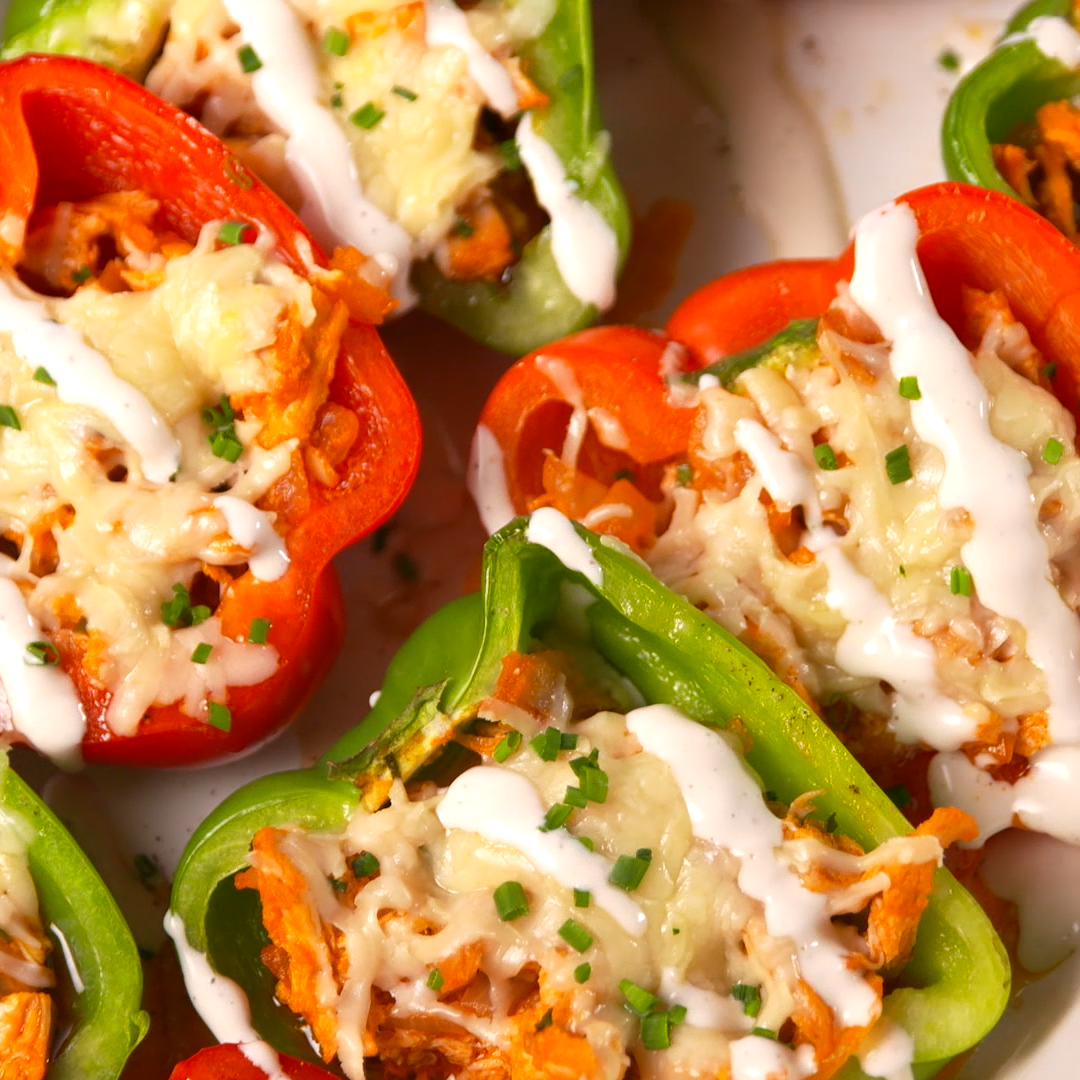 Buffalo Chicken Stuffed Peppers Recipe In 2020 Stuffed Peppers Recipes Chicken Stuffed Peppers