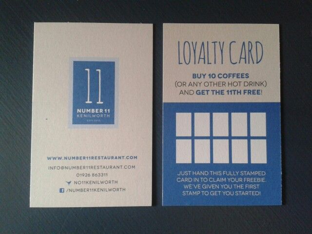New loyalty cards at Number 11 in Kenilworth!