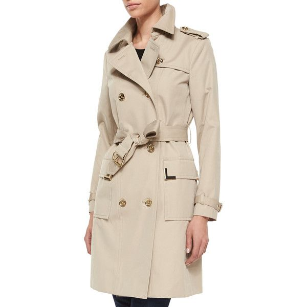 MICHAEL Michael Kors Beverly Short Sateen Trench Coat ($113) ❤ liked on Polyvore