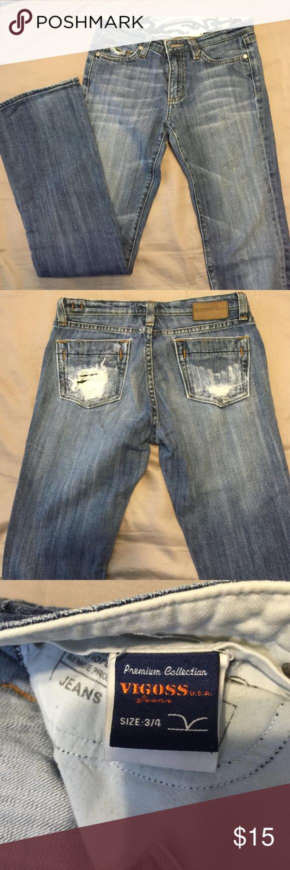 "Vigoss jeans slight boot cut -sz 3/4 Gentle used jeans. Great condition size 3/4. 31"" inseam Vigoss Jeans Boot Cut"