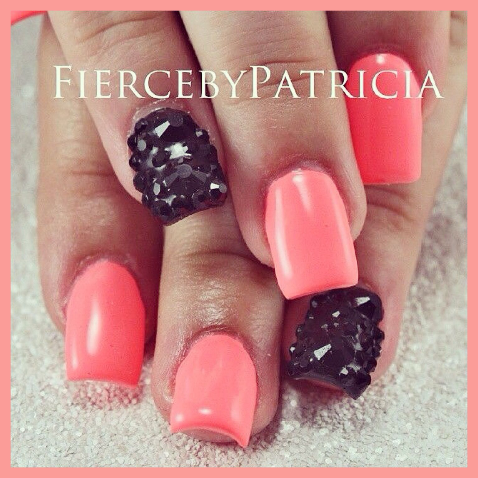 Dark peach nails w black studded ring finger | nail art | Pinterest ...