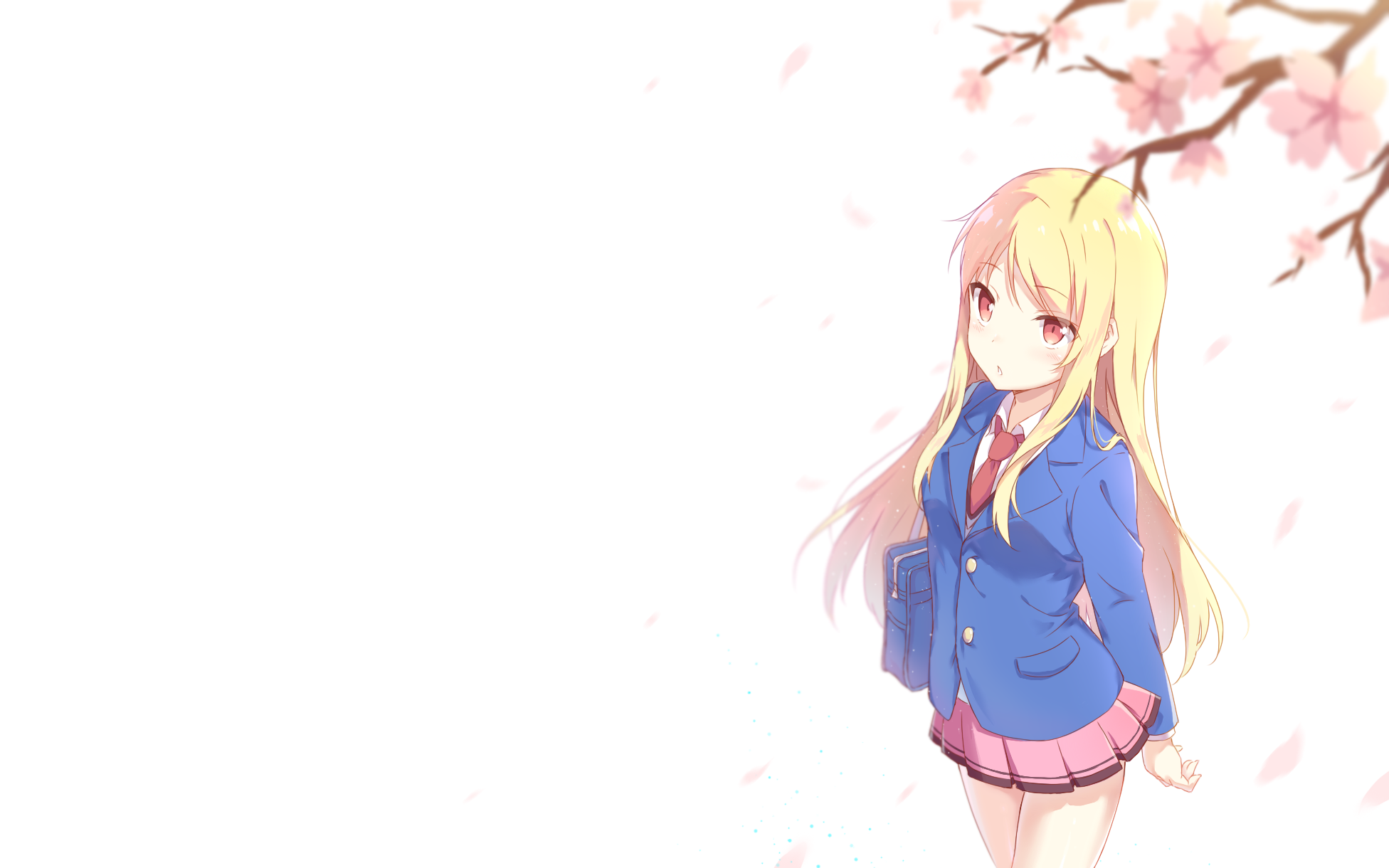 233016 blonde_hair blush cherry_blossoms