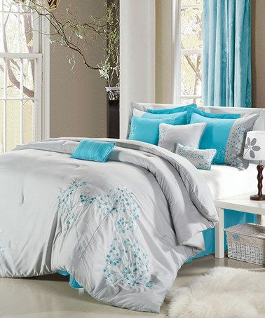 Gray Turquoise Flower Embroidered Comforter Set By Chic Home