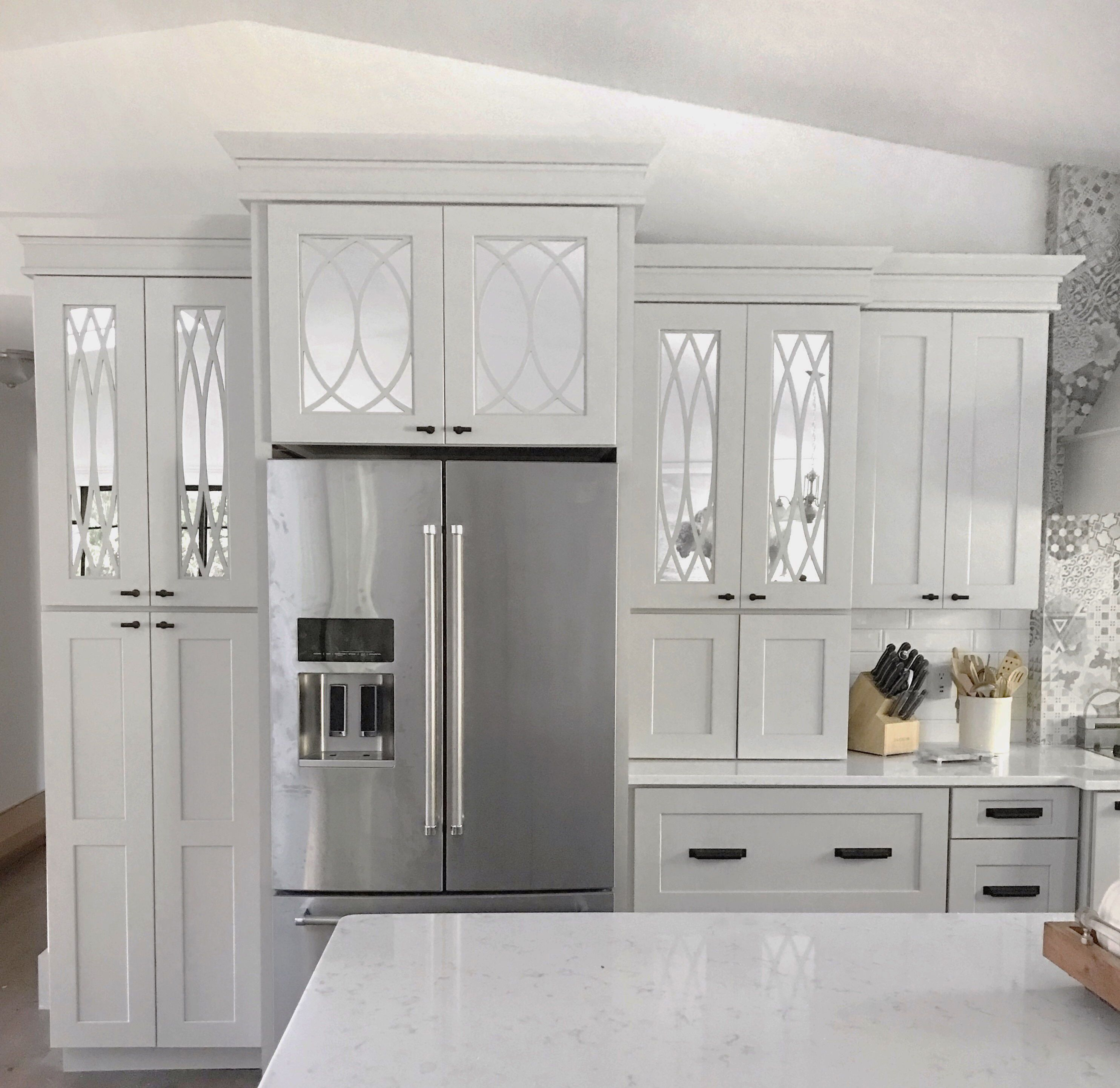 Upgrade Your Kitchen Cabinets And Bring In More Light Farmfreshcurls Used Mirror Inside The Door F Ikea Furniture Makeover Furniture Makeover Furniture Decor