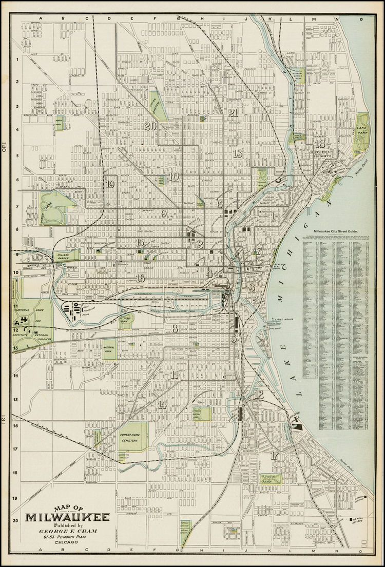 Map Of Milwaukee Barry Lawrence Ruderman Antique Maps Inc - Vintage milwaukee map