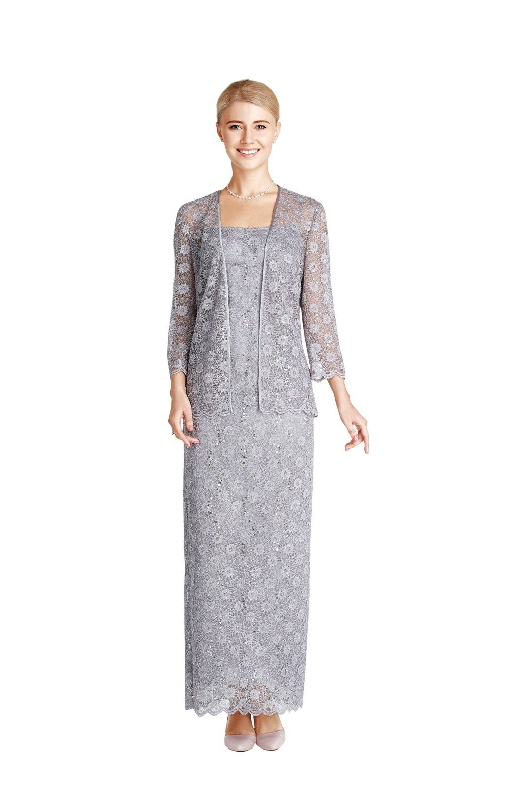 Stunning piece long dress u jacket in lace fabric great mother of