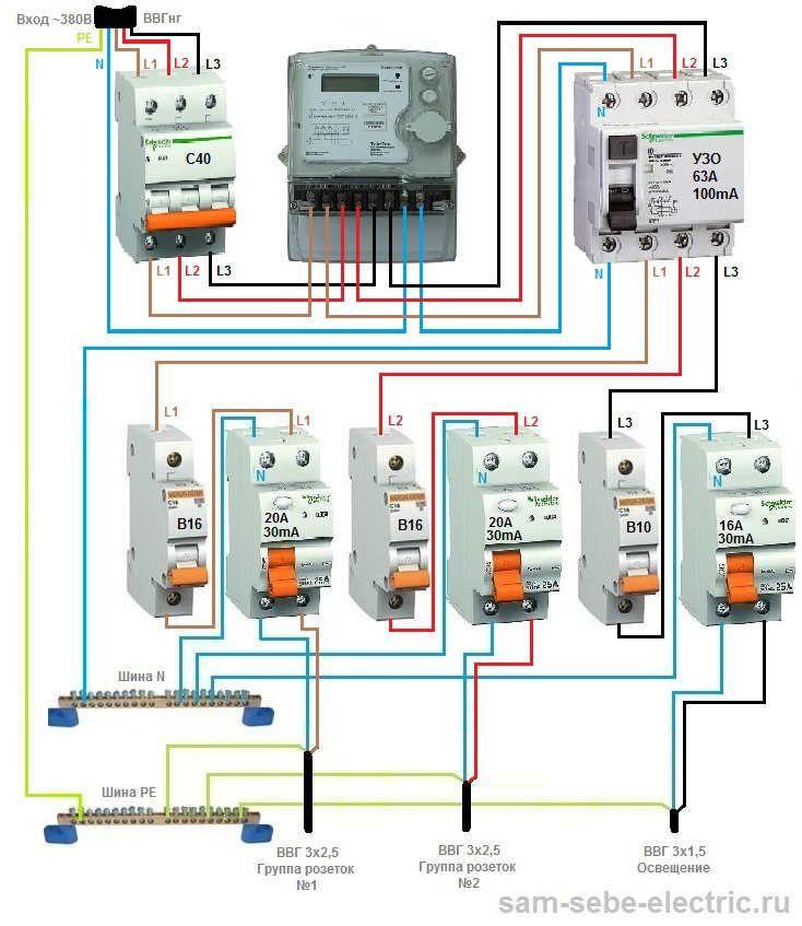 Схема подключения распределительного щита