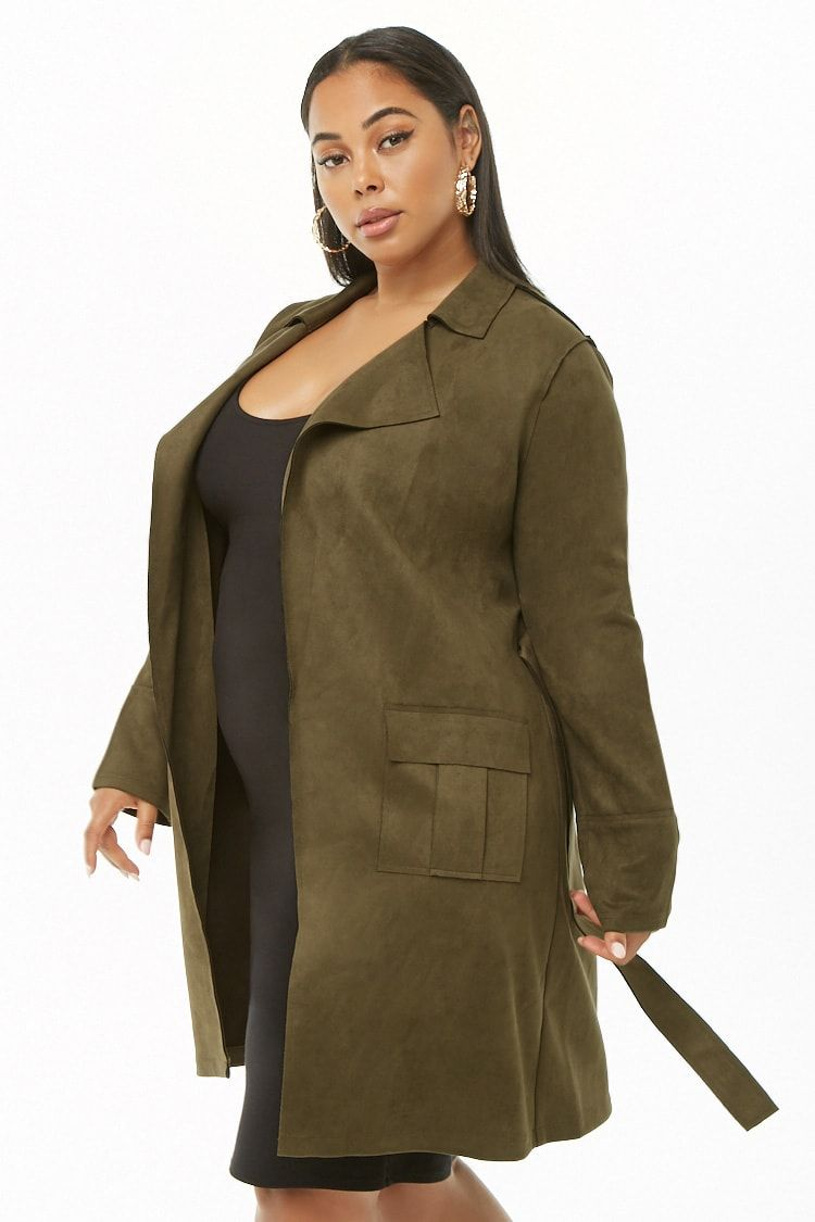 London Fog Plus Size Long Belted Trench Coat in Black
