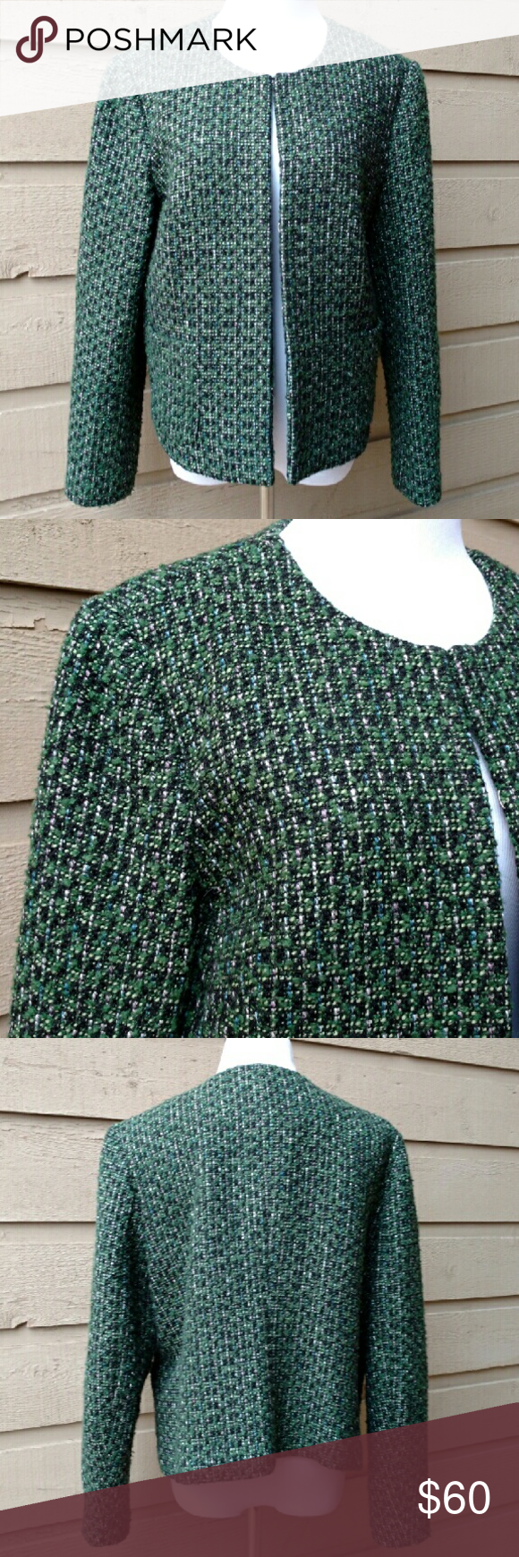 Talbots Blazer Talbots green, white, and black blazer size 12. Great condition, only worn a few times.  Five hooks instead of buttons, top hook shown in pictures.  Padding in shoulders. Green lining. Two front pockets.  20 inch bust. 24 inch arms. 24 inch length.  Material: Shell 45% polyester, 44% wool, 7% acrylic, 4% rayon. Lining 100% polyester. Talbots Jackets & Coats Blazers