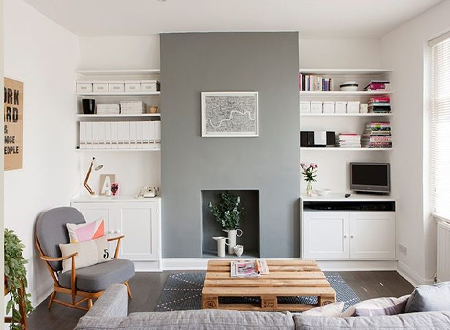 Living Room With Fireplace And Helves alcove fireplace desk cupboards grey painted wood - google search