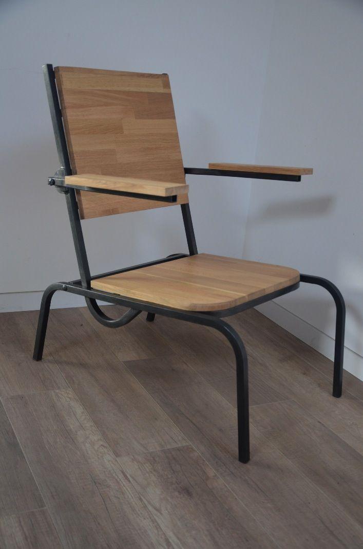 Chaise bois métal chaise industrielle chaise atelier chaise vintage chaise usine