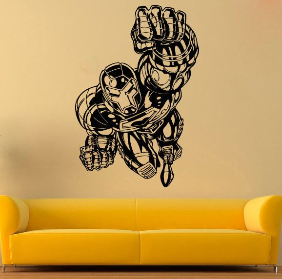 Tony Stark Wall Decal Iron Man Vinyl Sticker Comics Vinyl Decals ...