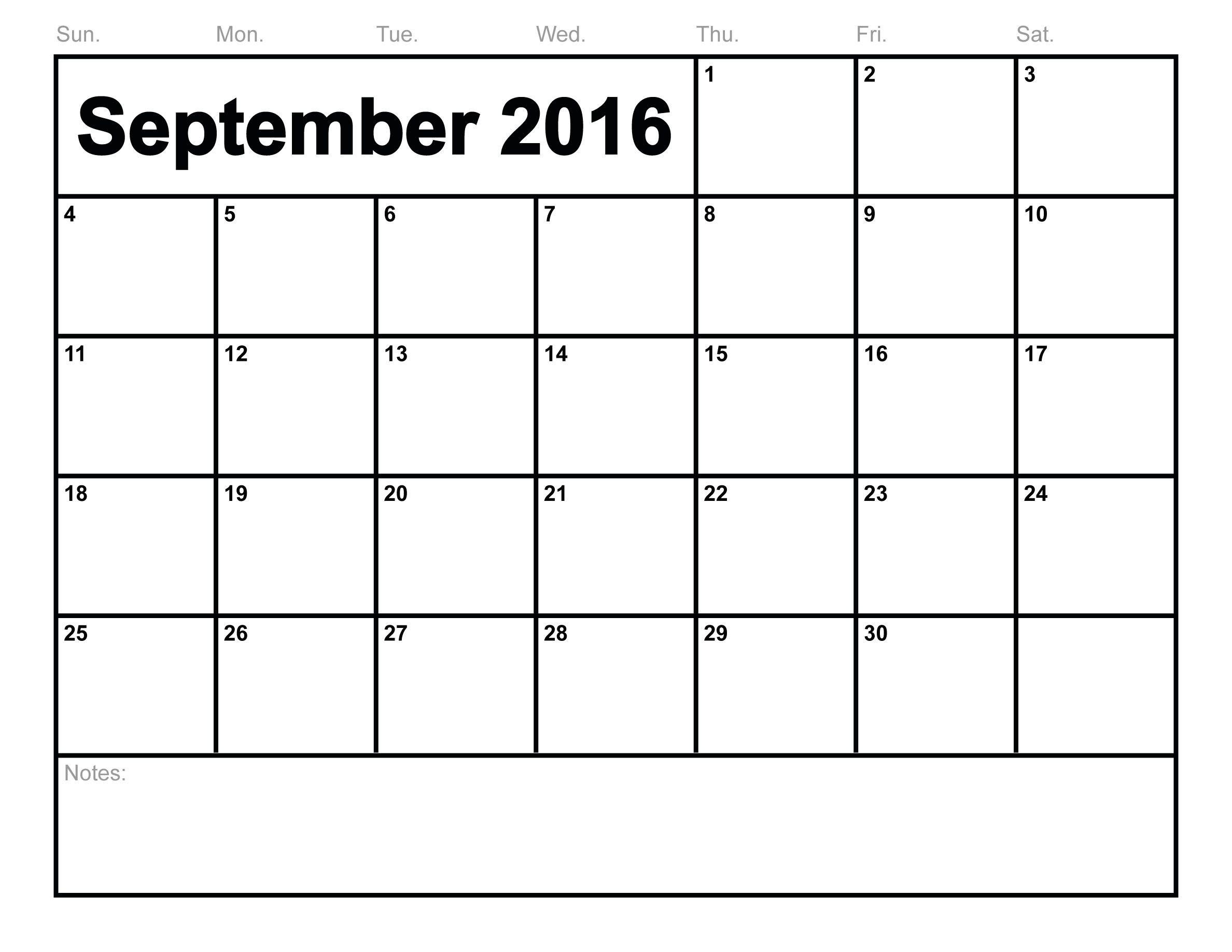 Free Printable September  Calendar  September Month
