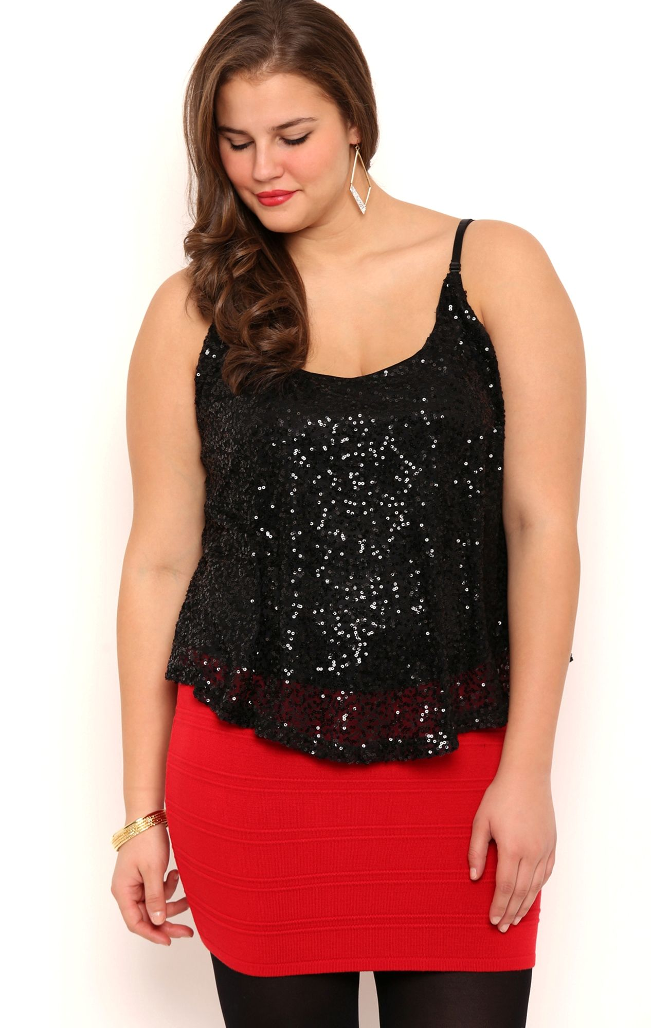 dde82ac2941 Plus Size Sequin Trapeze Tank Top with Adjustable Straps Plus Size Dressy  Tops