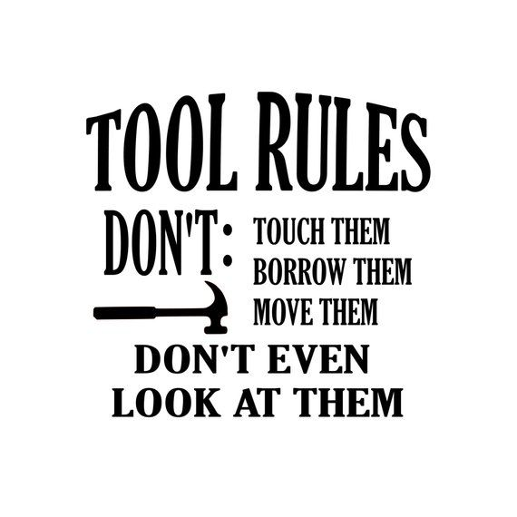 Tool Rules for Hammer   SVG PDF PNG Eps Dxf Silhouette | Etsy