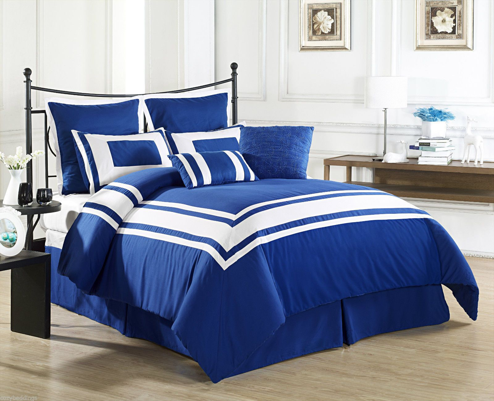 lux decor royal blue queen size bed 8 piece comforter set white stripe bedding bedroom. Black Bedroom Furniture Sets. Home Design Ideas