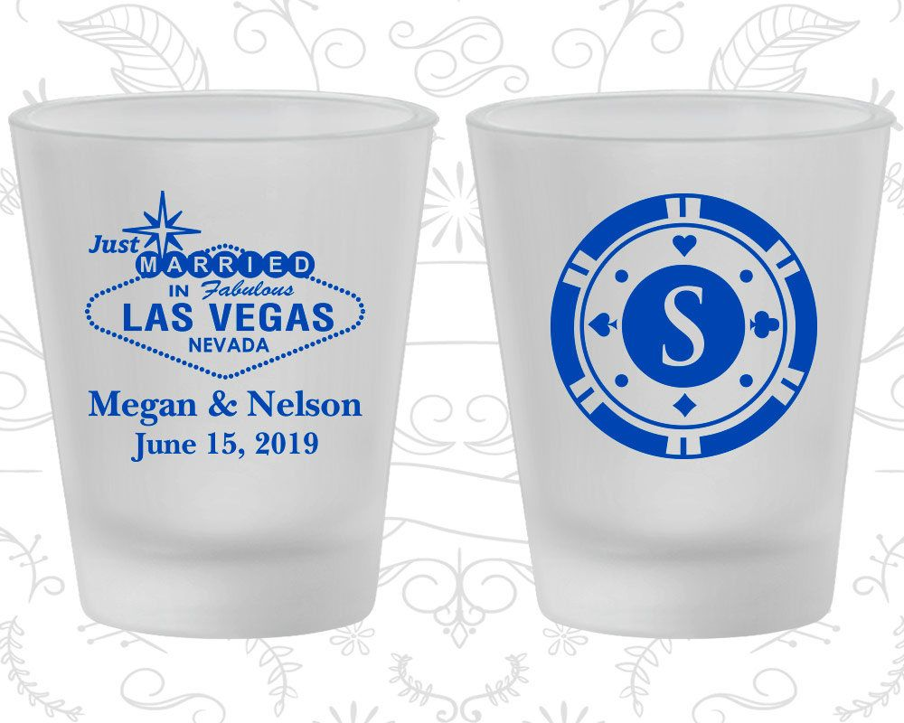 Las Vegas, Wedding Favor Frosted Shot Glasses, Just Married ...