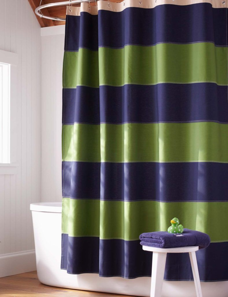 Navy Blue And Green Shower Curtain