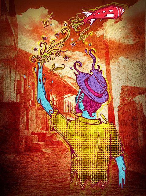 """Color, contrast, themes. Lovely.  Part of """"Da lama ao caos"""", project about the short lived musical movement Manguebeat in Brazil.    Ilustração sobre o manguebeat, no site original explica em mais detalhes."""