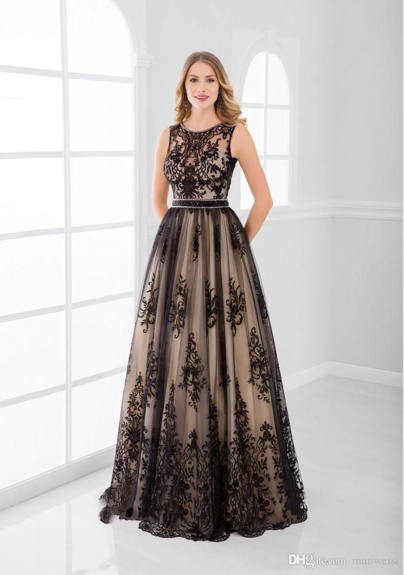 Elegant Black Lace Appliqued Mother Of The Bride Dresses Long Sleeveless Floor Length Wedding Guest Dress Cheap Plus Size Mothers Groom Gown From Manweisi 126 Mother Of The Bride Dresses Long [ 1138 x 800 Pixel ]