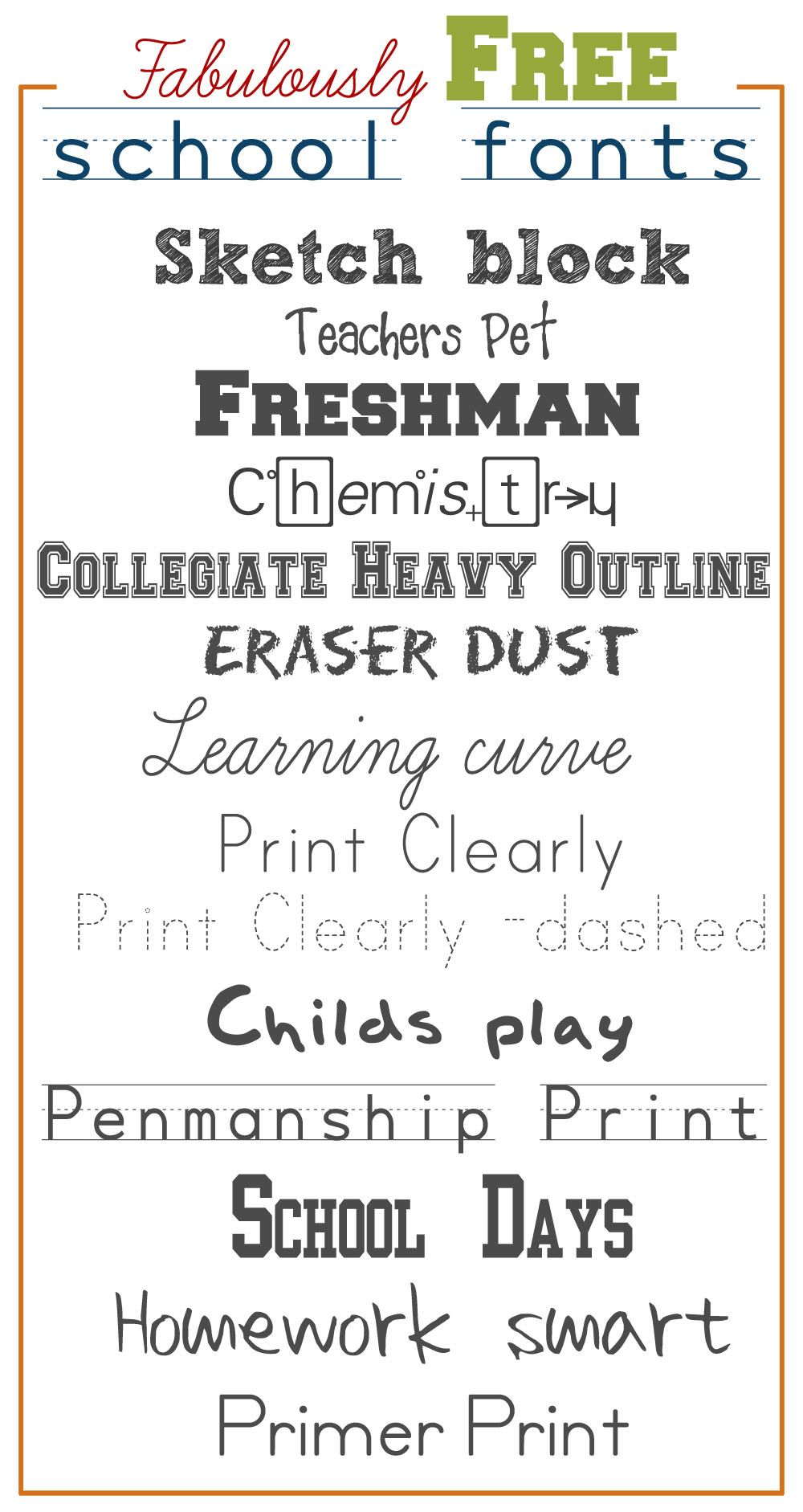 Download Fabulously Free School Fonts | Free school fonts, School ...