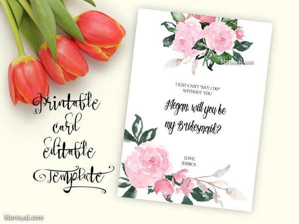 Will You Be My Bridesmaid Card Editable Template Will You Be My Bridesmaid Bridesmaid Cards Be My Bridesmaid