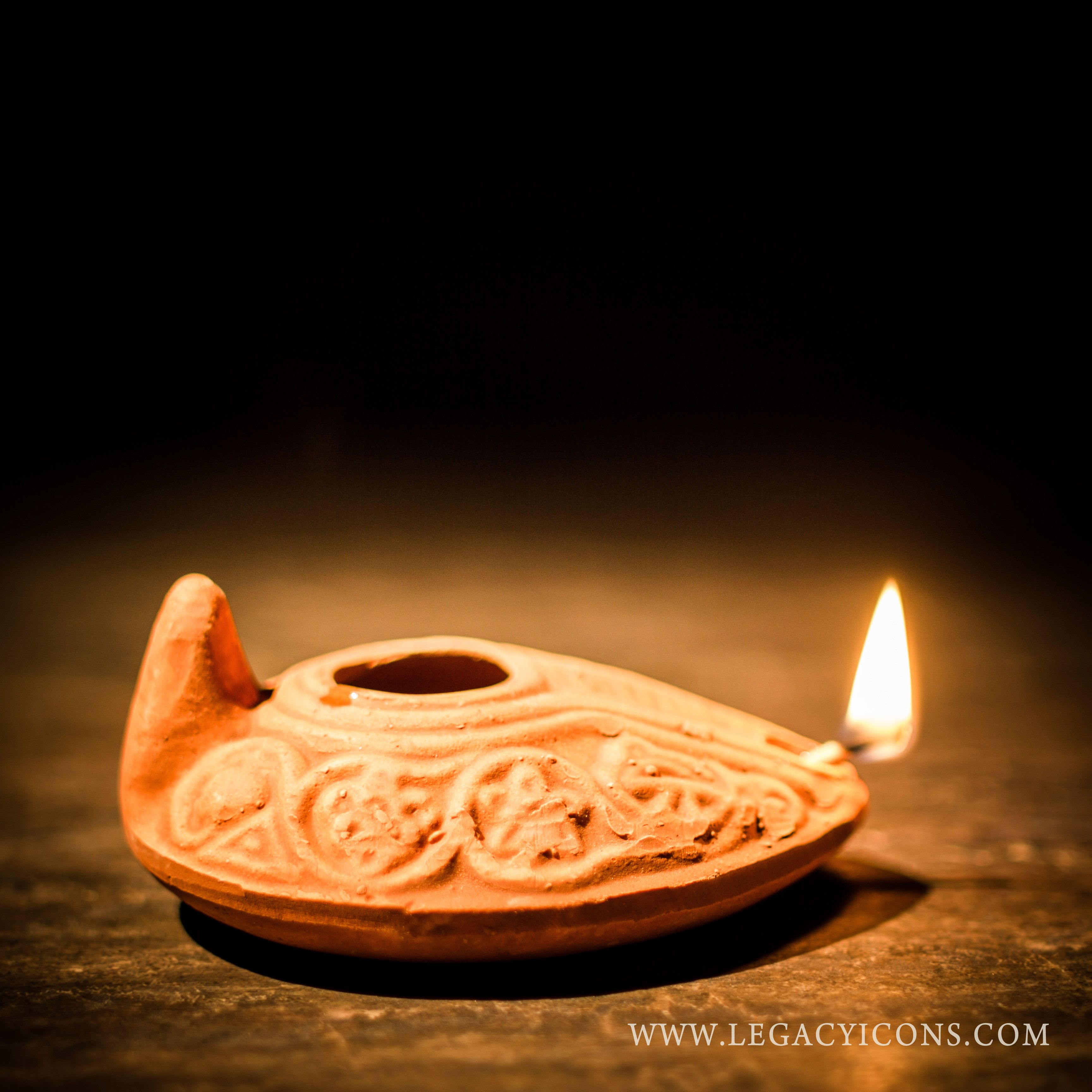 Reproduction Biblical Clay Oil Lamp. This is an authentic