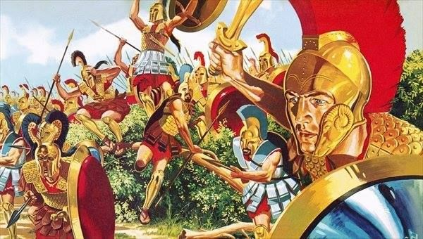 The Spartans advance, in this print by Bridgeman Art Library