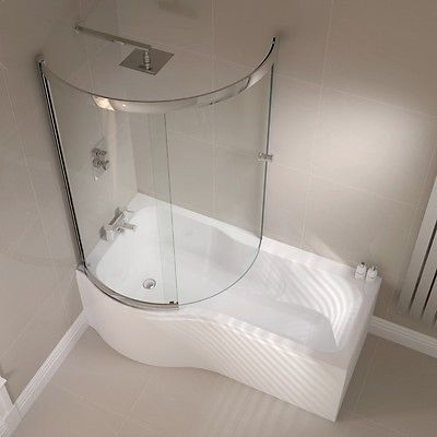 Details about P Shape Shower Bath 1500 1700mm with