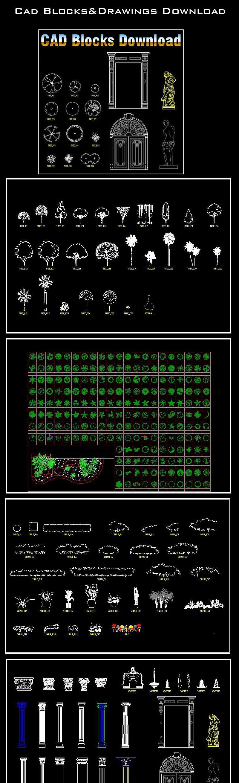Landscape Design 2d Blocks Includes The Following Cad Symbols Cad