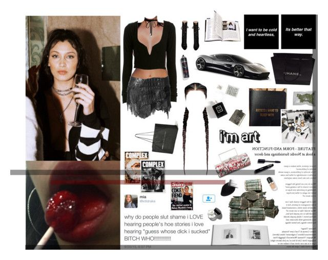"""""""Wrist so icy wonder why she like me, b*tch I'm drowning in water I just bought a Cuban, dipped it in a fountain"""" by xo-jaz ❤ liked on Polyvore featuring Chanel, Balmain, Giambattista Valli, Elisabeth Weinstock, Bobbi Brown Cosmetics, Garance Doré, Aston Martin and Joomi Lim"""